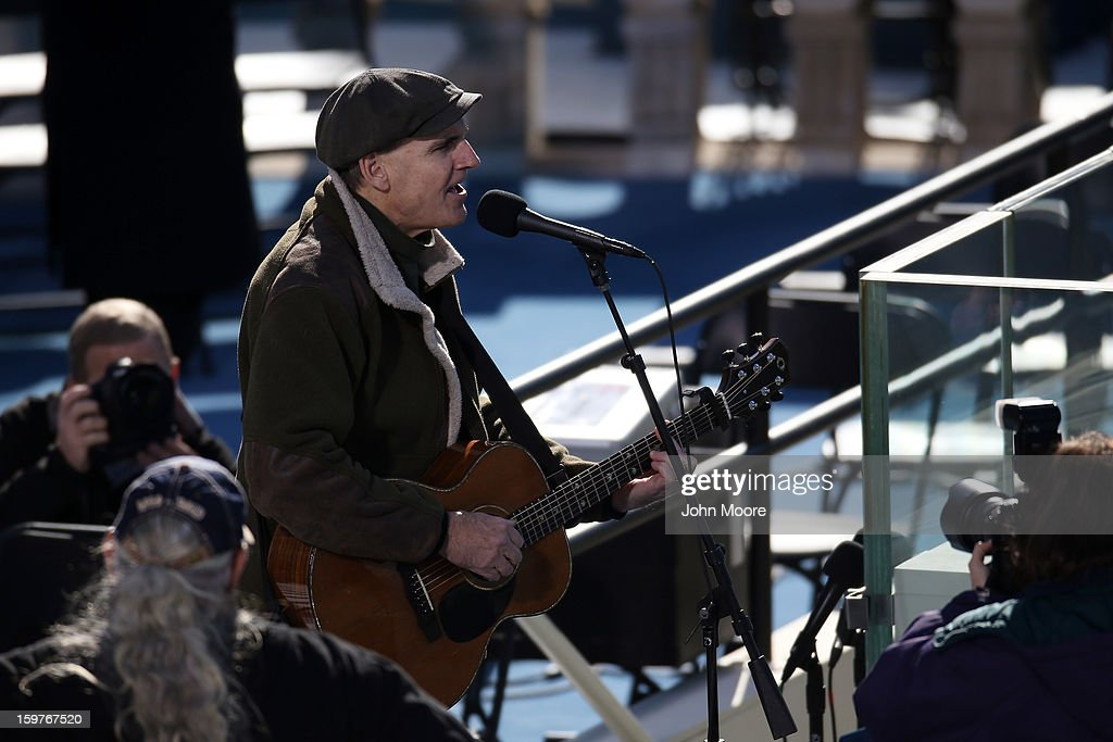 Musician James Taylor performs during rehearsal at the U.S. Capitol building as Washington prepares for U.S. President Barack Obama's second inauguration on January 20, 2013 in Washington, DC. Both Obama and U.S. Vice President Joe Biden will be officially sworn in today with a public ceremony for the President taking place on January 21.