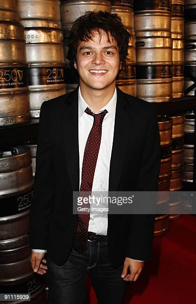 Musician Jamie Cullum arrives on the red carpet to Arthur's Day Guinness 250th Anniversary Celebration at the Storehouse on September 24 2009 in...