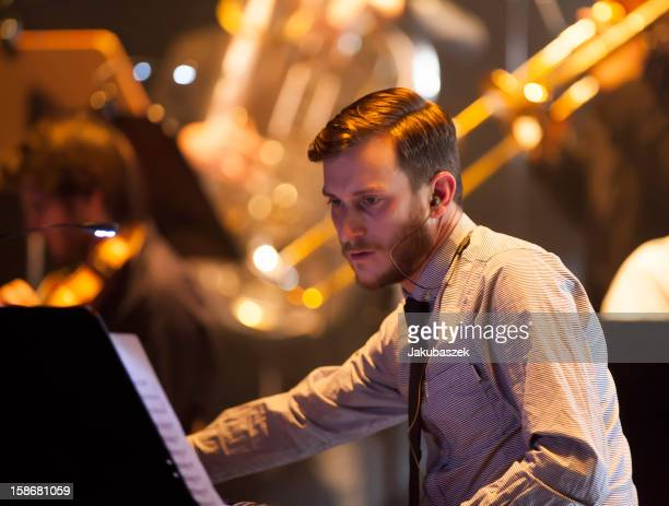 Musician Jan Brauer of the German Brandt Brauer Frick Ensemble performs live during a concert at the Volksbuehne on December 23 2012 in Berlin Germany