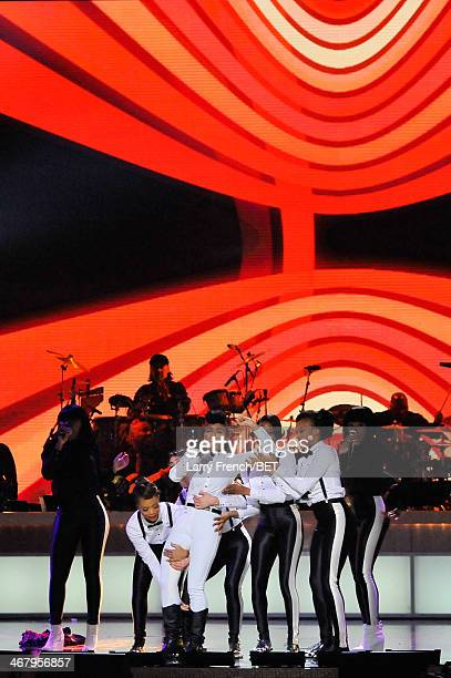 Musician Janelle Monae performs onstage at BET Honors 2014 at Warner Theatre on February 8 2014 in Washington DC