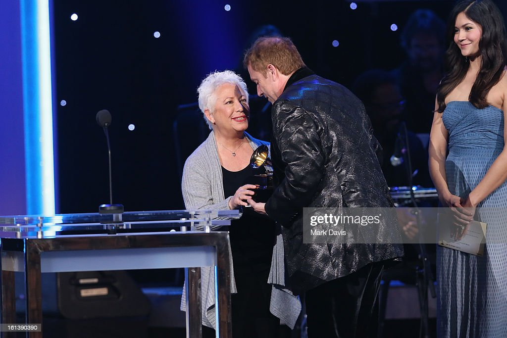 Musician Janis Ian and conductor Charles Bruffy onstage during the 55th Annual GRAMMY Awards Pre-Telecast at Nokia Theatre L.A. Live on February 10, 2013 in Los Angeles, California.