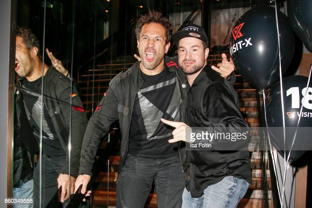 US musician Jared Hasselhoff and German presenter Chrsitopher 'Schoeni' Schoenborn attend the 'Nights of The Nights' event at Amano Grand Central on...