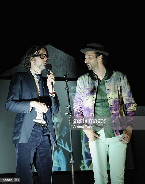 Musician Jarvis Cocker and director Florian Habicht speak during 'PULP A Film About Life Death Supermarkets' New York Screening at Industry City on...