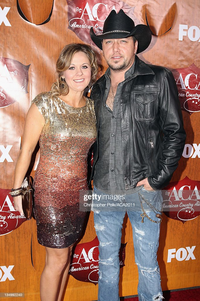 Musician <a gi-track='captionPersonalityLinkClicked' href=/galleries/search?phrase=Jason+Aldean&family=editorial&specificpeople=619221 ng-click='$event.stopPropagation()'>Jason Aldean</a> (R) and Jessica Aldean arrives at the American Country Awards 2011 at the MGM Grand Garden Arena on December 5, 2011 in Las Vegas, Nevada.