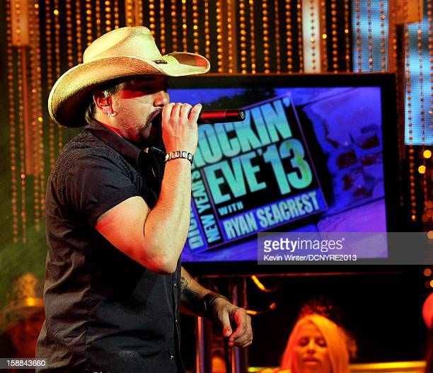 Musician Jason Aldean performs on Dick Clark's New Year's Rockin' Eve at CBS studios on December 31 2012 in Los Angeles California