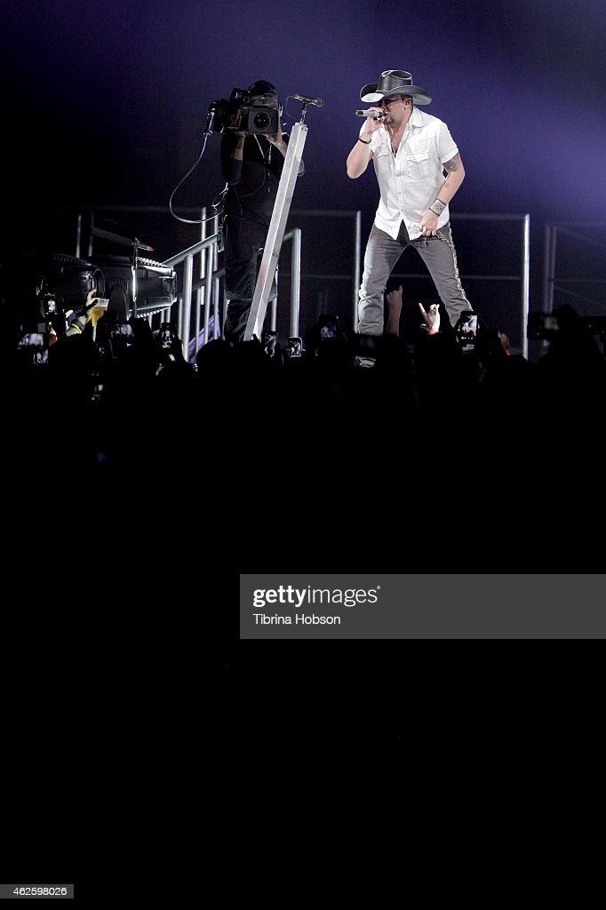 Musician Jason Aldean performs onstage during CBS Radio's The Night Before at US Airways Center on January 31 2015 in Phoenix Arizona