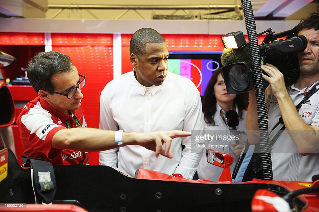 Musician Jay Z is shown around the Ferrari garage following practice for the Abu Dhabi Formula One Grand Prix at the Yas Marina Circuit on November 1, 2013 in Abu Dhabi, United Arab Emirates.