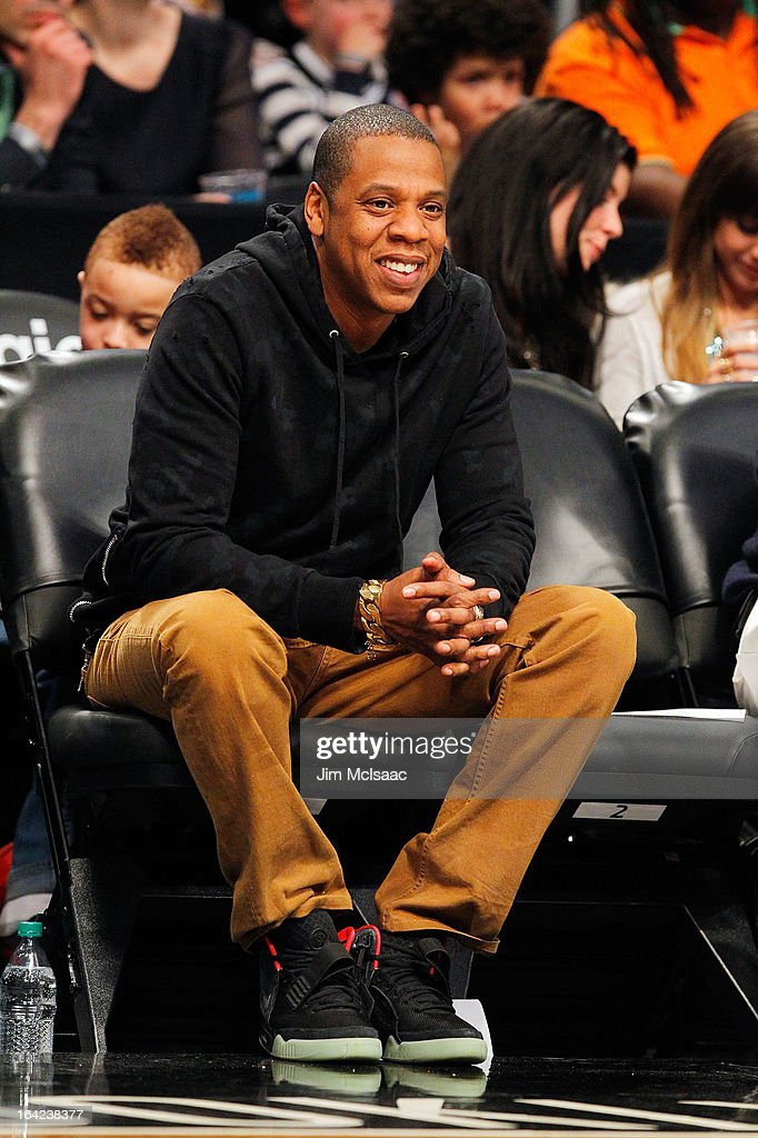 Musician Jay-Z attends the NBA game between the Brooklyn Nets and the Dallas Mavericks at Barclays Center on March 1, 2013 in the Brooklyn borough of New York City.The Mavericks defeated the Nets 98-90.