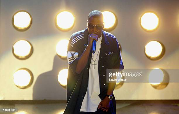 Musician JayZ performs on stage at the 2004 Black Entertainment Awards held at the Kodak Theatre on June 29 2004 in Hollywood California