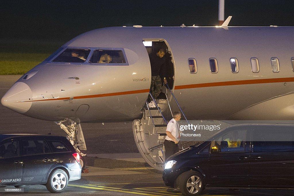 Musician Jay-Z pictured after landing at Antwerp airport on October 21, 2013 in Antwerp, Belgium.