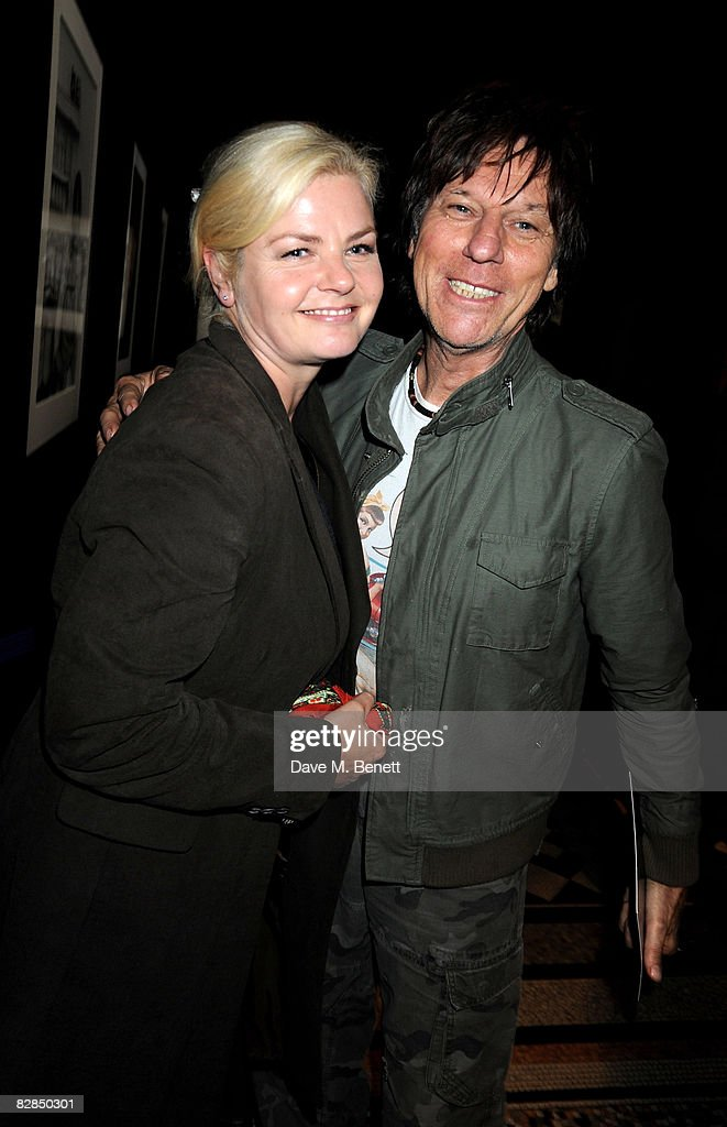 Musician Jeff Beck (R) and his wife Sandra Cash attend the 30 Days of Fashion & Beauty Gala with an exhibition displaying photographs by Mary McCartney, at the Natural History Museum September 16, 2008 in London, England.