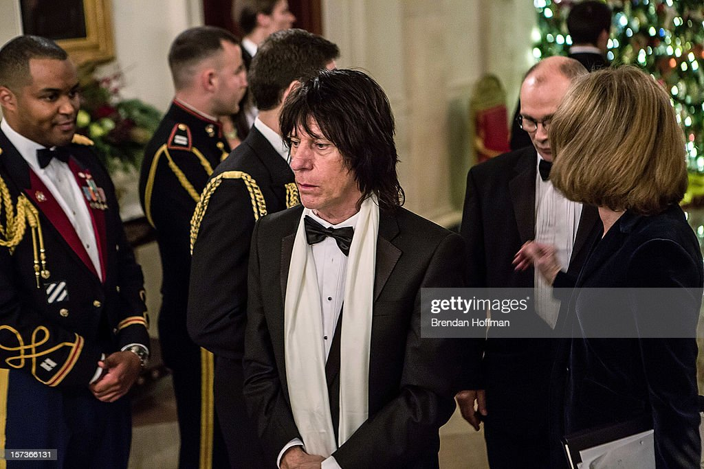 Musician <a gi-track='captionPersonalityLinkClicked' href=/galleries/search?phrase=Jeff+Beck&family=editorial&specificpeople=213341 ng-click='$event.stopPropagation()'>Jeff Beck</a> arrives at the Kennedy Center Honors reception at the White House on December 2, 2012 in Washington, DC. The Kennedy Center Honors recognized seven individuals - Buddy Guy, Dustin Hoffman, David Letterman, Natalia Makarova, John Paul Jones, Jimmy Page, and Robert Plant - for their lifetime contributions to American culture through the performing arts.