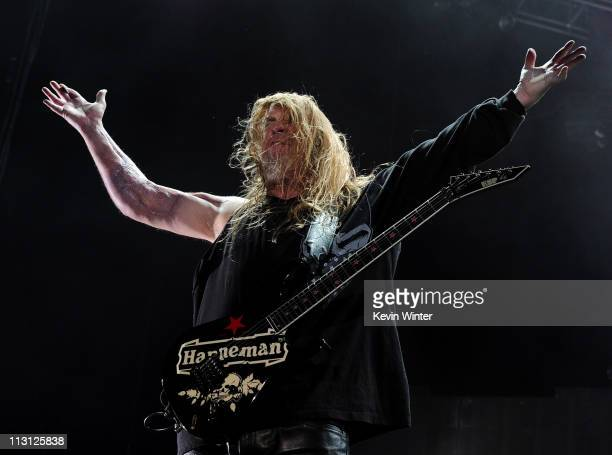 Musician Jeff Hanneman of Slayer performs onstage during The Big 4 held at the Empire Polo Club on April 23 2011 in Indio California
