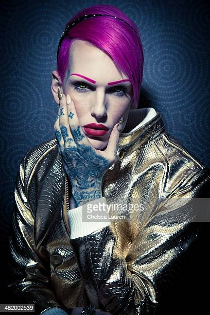 Musician Jeffree Star poses backstage at the 2014 Vans Warped Tour press conference and kickoff party on April 1 2014 in Los Angeles California