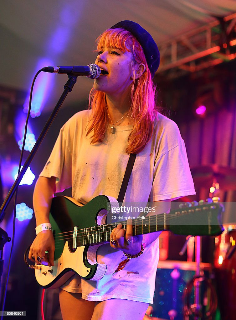 Musician Jennifer Clavin of Bleached performs onstage during day 3 of the 2014 Coachella Valley Music & Arts Festival at the Empire Polo Club on April 20, 2014 in Indio, California.