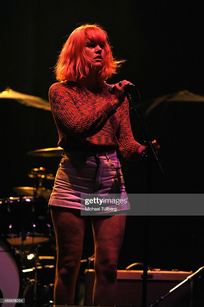 Musician Jennifer Clavin of the rock group Bleached performs at Wiltern Theatre on August 7, 2014 in Los Angeles, California.