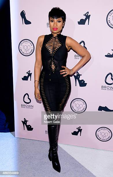 Musician Jennifer Hudson attends the Brown Shoe Company Celebrates 100 Years on New York Stock Exchange event at 4 World Trade Center on April 23...