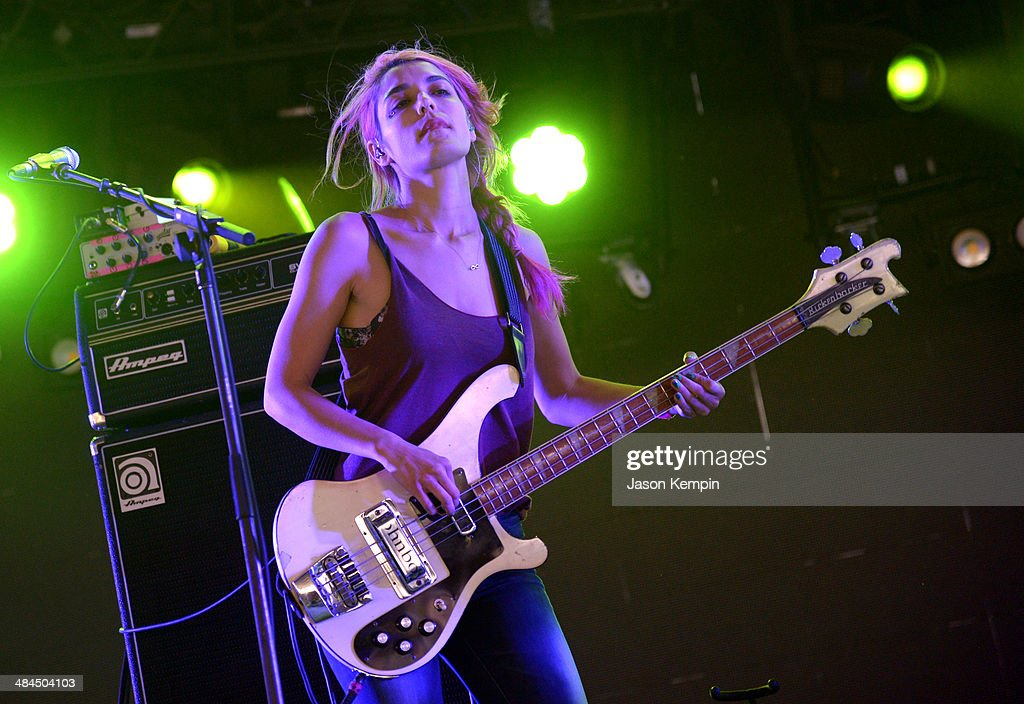 Musician Jenny Lee Lindberg of Warpaint performs onstage during day 2 of the 2014 Coachella Valley Music Arts Festival at the Empire Polo Club on...