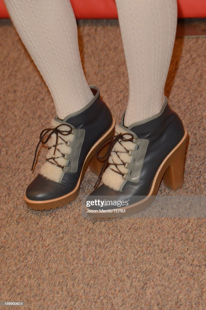 Musician <a gi-track='captionPersonalityLinkClicked' href=/galleries/search?phrase=Jenny+Lewis&family=editorial&specificpeople=216530 ng-click='$event.stopPropagation()'>Jenny Lewis</a> (shoe detail) attends the 'Very Good Girls' premiere at Eccles Center Theatre during the 2013 Sundance Film Festival on January 22, 2013 in Park City, Utah.