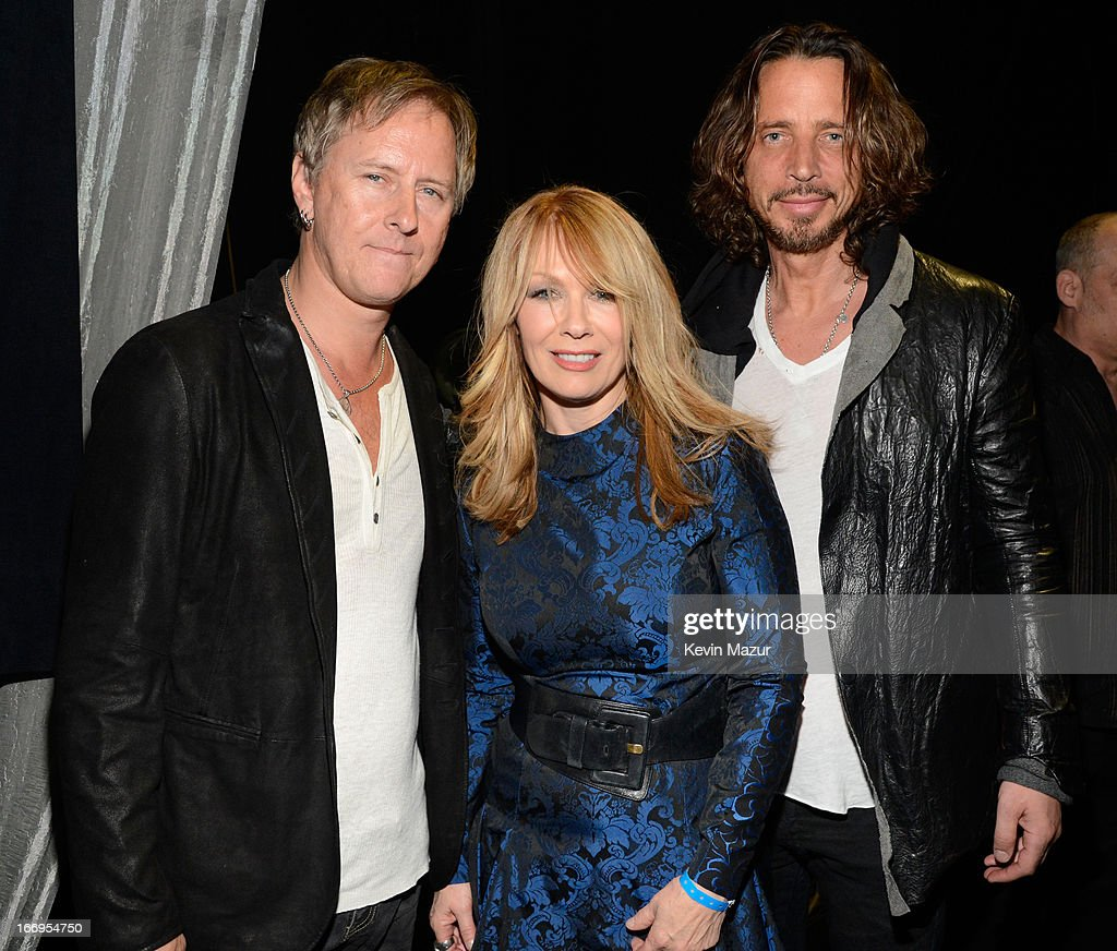 Musician Jerry Cantrell inductee Nancy Wilson and musician Chris Cornell attend the 28th Annual Rock and Roll Hall of Fame Induction Ceremony at...