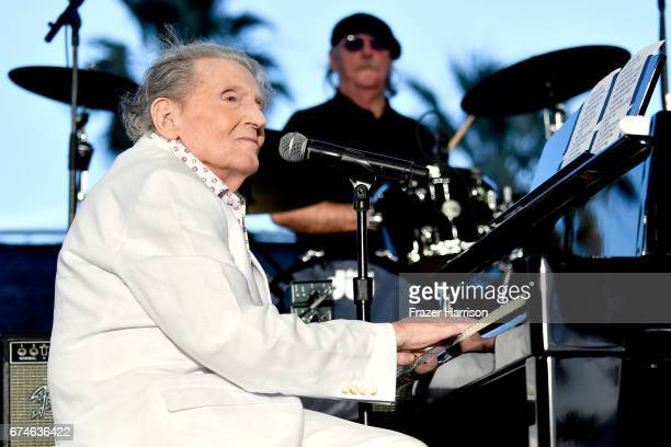 Musician Jerry Lee Lewis performs on the Palomino Stage during day 1 of 2017 Stagecoach California's Country Music Festival at the Empire Polo Club...