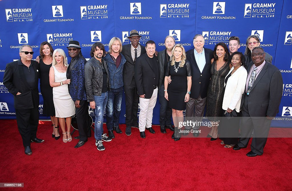 Musician Jimmie Vaughan, Robin Vaughan, Robin Walker, musician Joe Louis Walker, singer Noah Hunt, musician Kenny Wayne Shepherd, musician Keb' Mo', GRAMMY Foundation Board Member Tim bucher, musician Derek Trucks, musician Susan Tedeschi, GRAMMY Museum Board Member Charkes B. Ortner, GRAMMY Museum Board Member Giselle Fernadez, musician Quinn Sullivan, Lottie Walton-Bolden, GRAMMY Foundation Vice President Scott Goldman and musician James Bolden attend Icon: The Life And Legacy Of B.B. King, a live tribute concert presented by the GRAMMY Foundation and GRAMMY Museum and sponsored in part by Gibson Memphis and the Gibson Foundation, and by Brian and Adria Sheth, on September 1, 2016 at the at the Wallis Annenberg Center for the Performing Arts in Beverly Hills, California. For more information visit www.grammyfoundation.org and www.grammymuseum.org.
