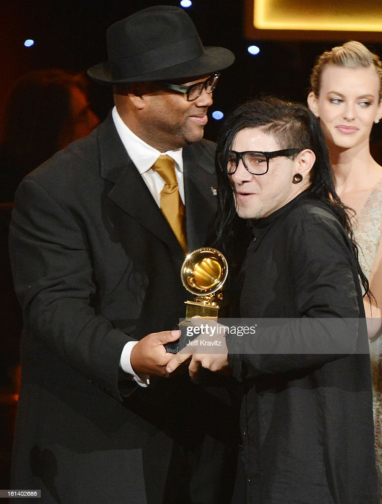 Musician Jimmy Jam (L) and DJ/producer Skrillex attend the 55th Annual GRAMMY Awards at Nokia Theatre L.A. Live on February 10, 2013 in Los Angeles, California.