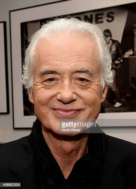 Musician Jimmy Page appears at a private reception and dinner for Jimmy Page to celebrate his new autobiography 'Jimmy Page by Jimmy Page' at the...