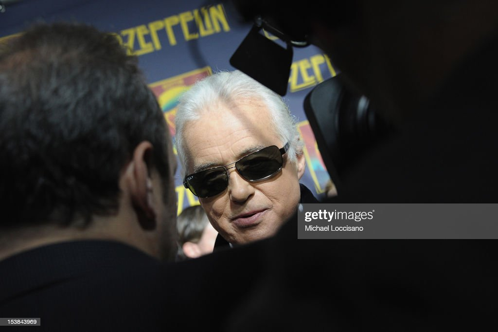 Musician Jimmy Page is interviewed during the 'Led Zeppelin: Celebration Day' premiere at the Ziegfeld Theater on October 9, 2012 in New York City.