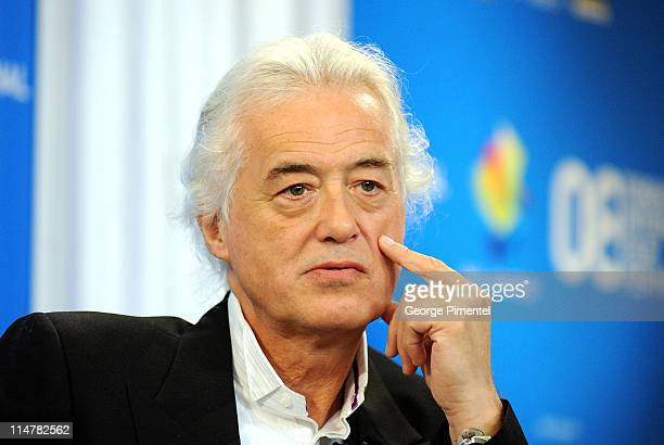 Musician Jimmy Page speaks at the 'It Might Get Loud' press conference during the 2008 Toronto International Film Festival held at the Sutton Place...