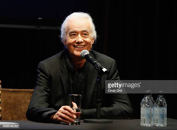 Musician Jimmy Page speaks onstage as John Varvatos celebrates the launch of 'JIMMY PAGE By Jimmy Page' at John Varvatos 315 Bowery Boutique on...