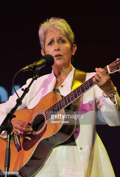 Musician Joan Baez performs at the 2010 Children's Health Fund Benefit Gala at The Hilton New York on June 2 2010 in New York City