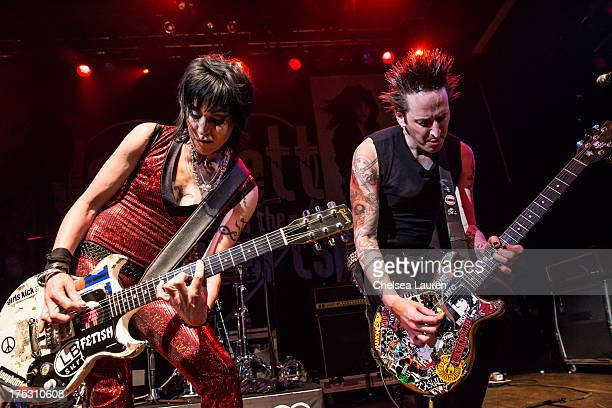 Musician Joan Jett and guitarist Dougie Needles of The Blackhearts perform at the 6th annual Sunset Strip Music Festival launch party honoring Joan...