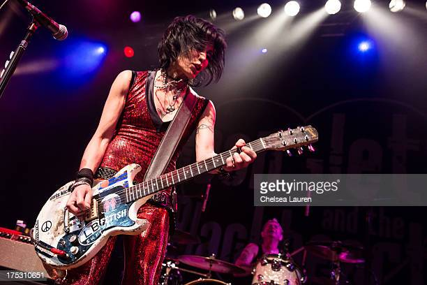 Musician Joan Jett performs at the 6th annual Sunset Strip Music Festival launch party honoring Joan Jett at House of Blues Sunset Strip on August 1...
