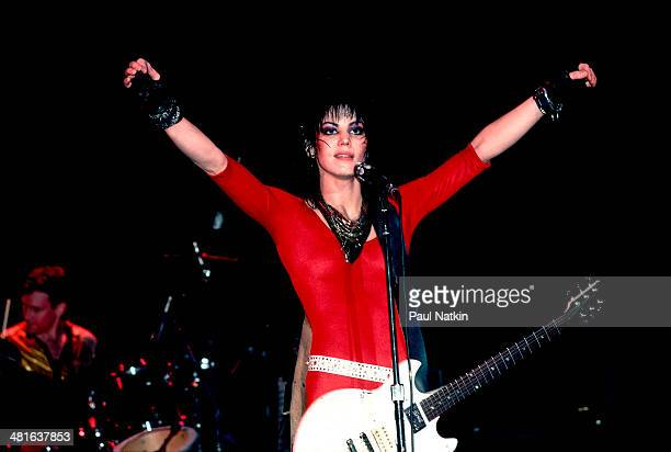 Musician Joan Jett performs at the Holiday Star Theater Chicago Illinois March 27 1985