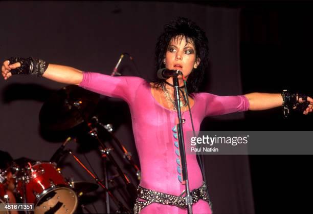 Musician Joan Jett performs onstage at the Poplar Creek Music Theater Elgin Illinois June 15 1987