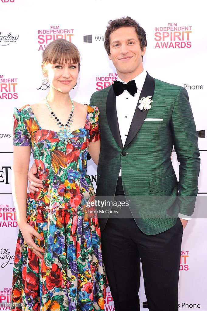 Musician Joanna Newsom and Andy Samberg attend the 2013 Film Independent Spirit Awards After Party hosted by Microsoft Windows Phone at The Bungalow at The Fairmont Hotel on February 23, 2013 in Santa Monica, California.