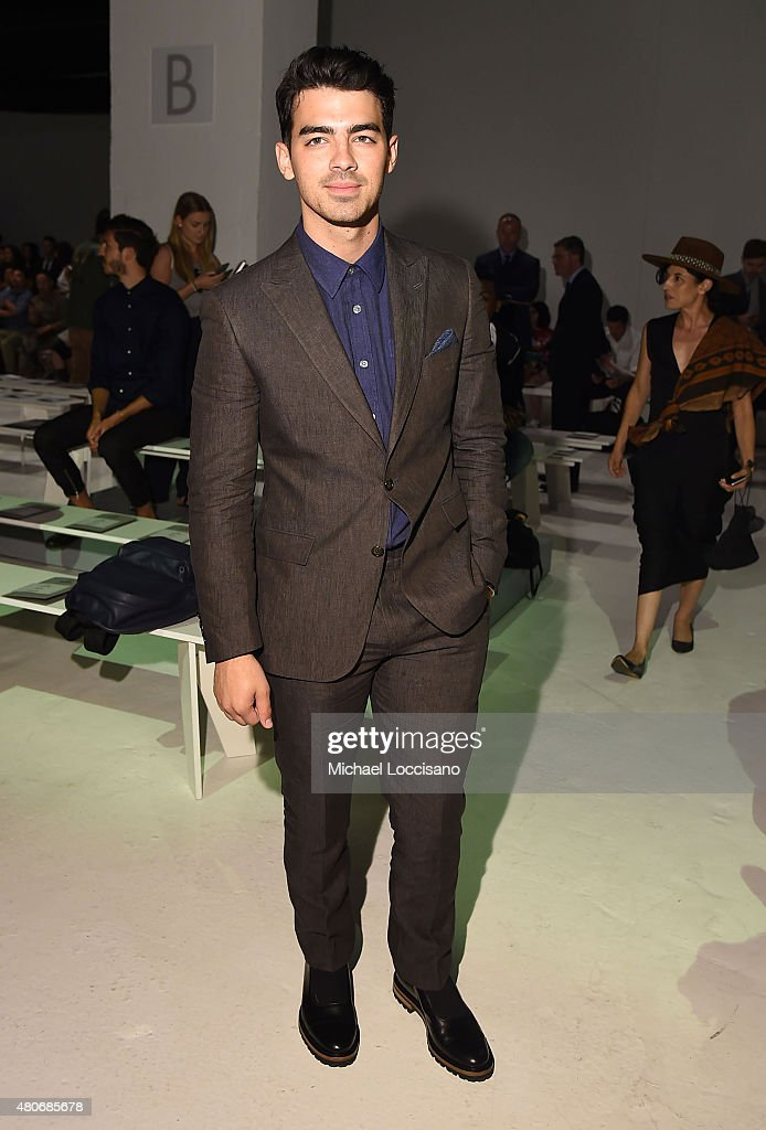 Musician <a gi-track='captionPersonalityLinkClicked' href=/galleries/search?phrase=Joe+Jonas&family=editorial&specificpeople=842712 ng-click='$event.stopPropagation()'>Joe Jonas</a> attends the Todd Snyder fashion show during New York Fashion Week: Men's S/S 2016 at Skylight Clarkson Sq on July 14, 2015 in New York City.