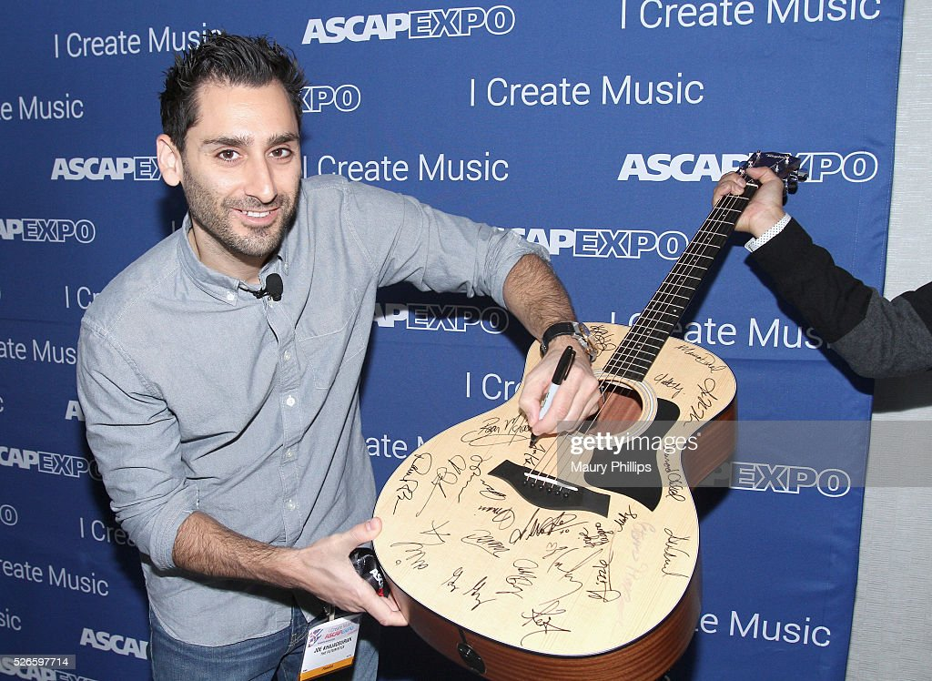 Musician Joe Khajadourian signs a #StandWithSongwriters guitar, which will be presented in May to members of Congress to urge them to support reform of outdated music licensing laws, during the 2016 ASCAP 'I Create Music' EXPO on April 30, 2016 in Los Angeles, California.