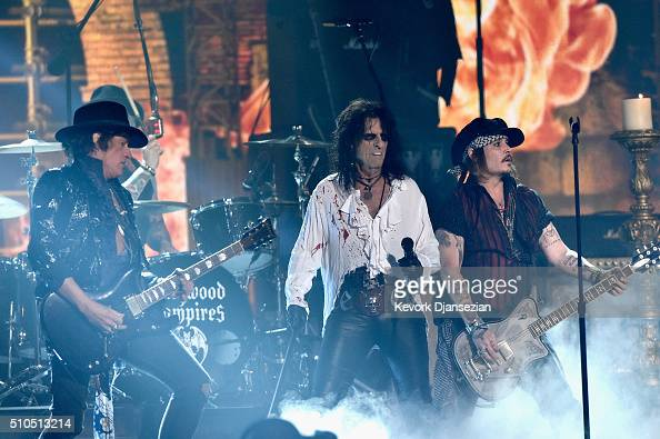 Musician Joe Perry singer Alice Cooper and actor/musician Johnny Depp of Hollywood Vampires perform onstage during The 58th GRAMMY Awards at Staples...