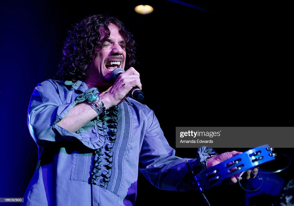 Musician Joe Retta of the band Heaven And Earth performs onstage at the Heaven And Earth 'Dig' world premiere album release party at The Fonda Theatre on April 10, 2013 in Los Angeles, California.