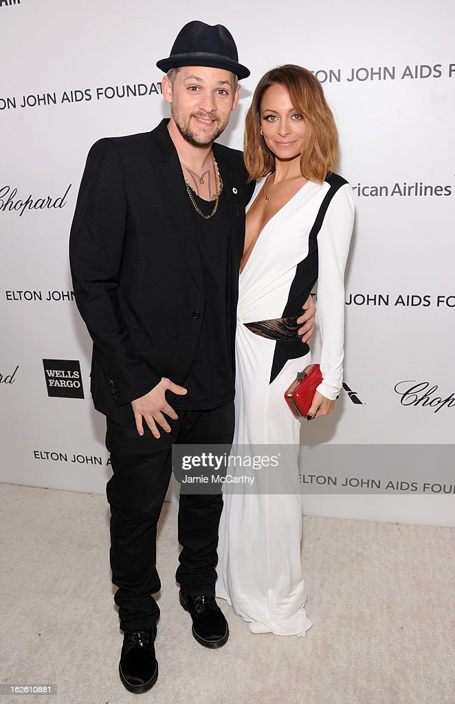 Musician Joel Madden and Nicole Richie attend the 21st Annual Elton John AIDS Foundation Academy Awards Viewing Party at West Hollywood Park on February 24, 2013 in West Hollywood, California.