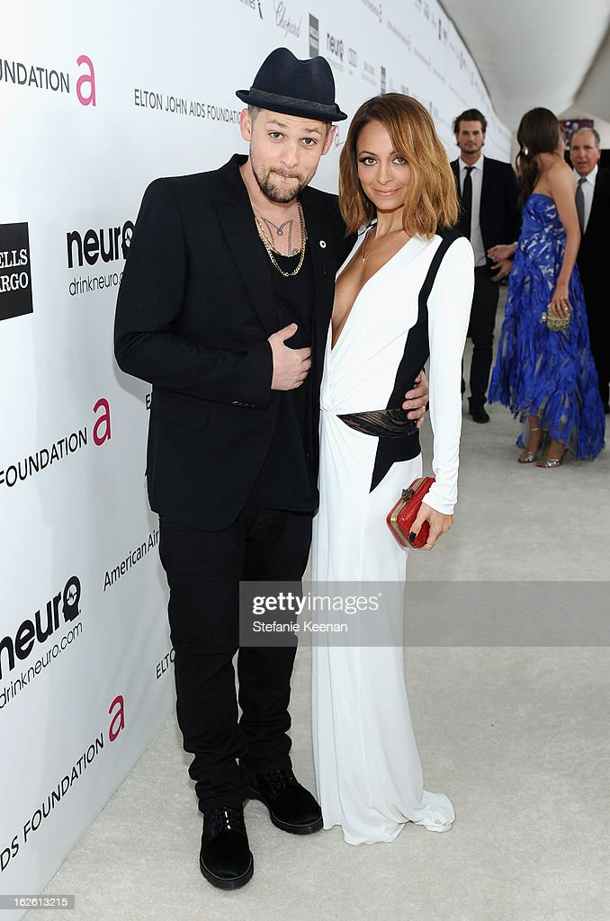 Musician Joel Madden and TV personality Nicole Richie attend Chopard at 21st Annual Elton John AIDS Foundation Academy Awards Viewing Party at West Hollywood Park on February 24, 2013 in West Hollywood, California.