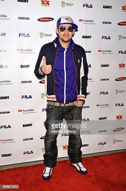 Musician Joel Madden arrives at the launch party for Sportie LA's new Special Edition Melrose women's footwear by Fila on December 10 2008 in Los...
