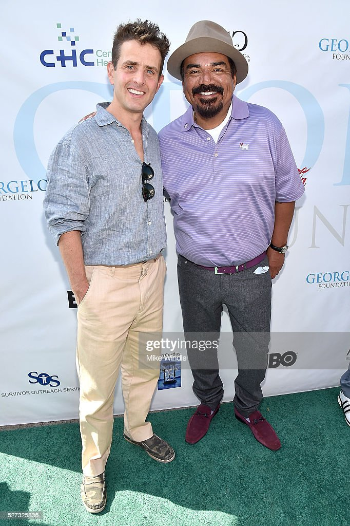 Musician Joey McIntyre and George Lopez attend the 9th Annual George Lopez Celebrity Golf Classic to benefit The George Lopez Foundation at Lakeside Golf Club on May 2, 2016 in Burbank, California.