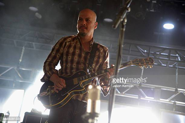 Musician Joey Santiago of Pixies performs onstage during day 2 of the 2014 Coachella Valley Music Arts Festival at the Empire Polo Club on April 12...
