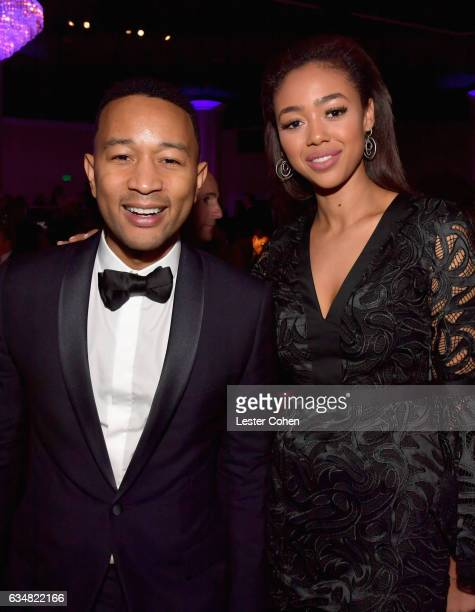 Musician John Legend and model Bella Harris attend PreGRAMMY Gala and Salute to Industry Icons Honoring Debra Lee at The Beverly Hilton on February...