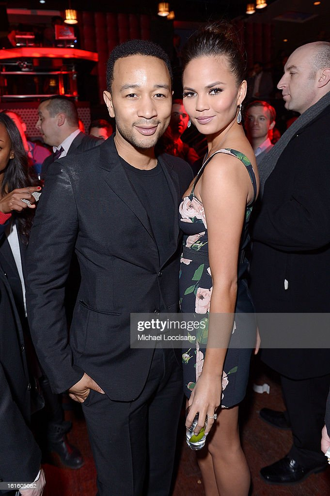 Musician John Legend and model Chrissy Teigen attend as Sports Illustrated celebrates SI Swimsuit 2013 with a star-studded kickoff event at Crimson on February 12, 2013 in New York City.