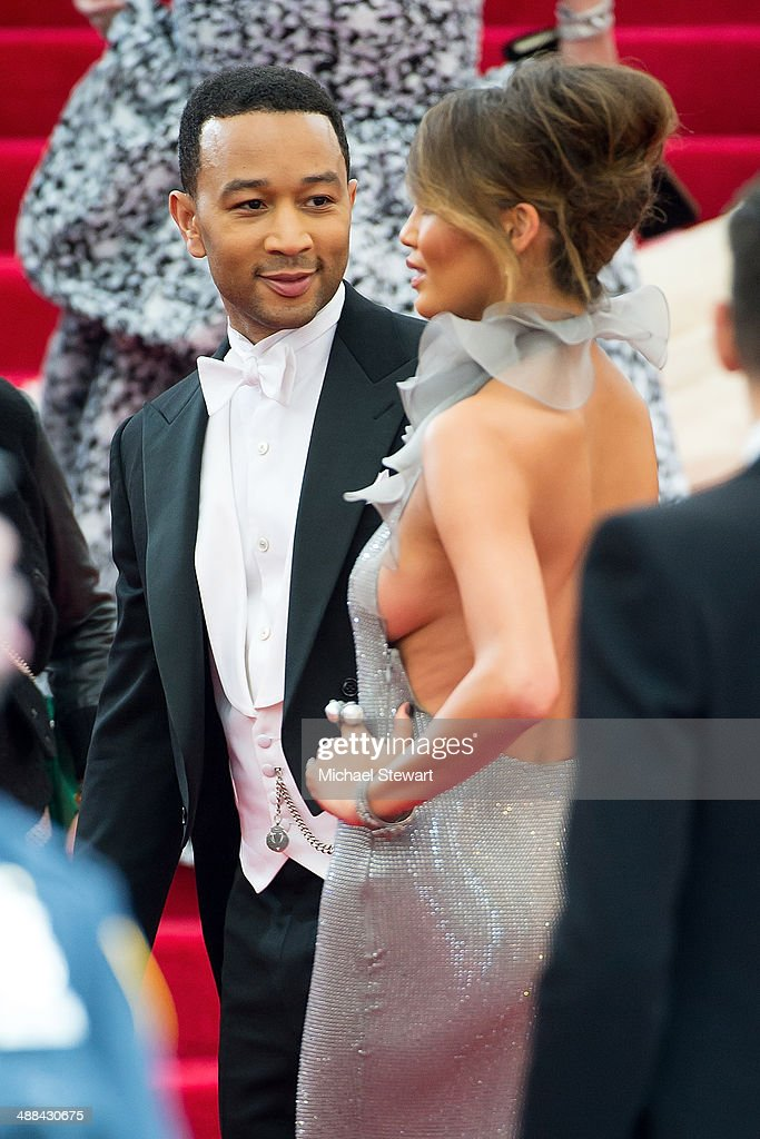 Musician John Legend (L) and model Chrissy Teigen attend the 'Charles James: Beyond Fashion' Costume Institute Gala at the Metropolitan Museum of Art on May 5, 2014 in New York City.