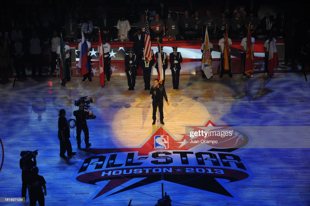 Musician, John Legend, performs before the 2013 NBA All-Star Game on February 17, 2013 at Toyota Center in Houston, Texas.
